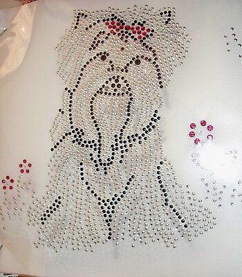 LARGE Yorkie Westie Shih Tzu Crystal & Floral Rhinestone IRON ON Applique 6 X 7