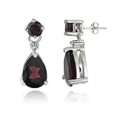 Sterling Silver 3.6ct Garnet & Diamond Accent Teardrop Earrings