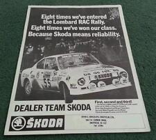1977 1978 DEALER TEAM SKODA 130RS COUPE RALLY CAR LEAFLET BROCHURE - 110R S110R