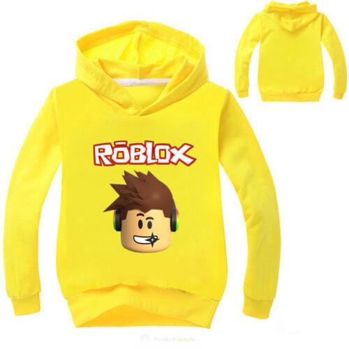 Girl Boy Casual Hooded Tops Roblox Cartoon T-shirt Kids Hoodie Jumper Age 3-10Y
