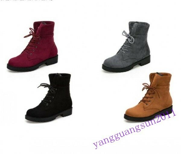 Winter Warm Womens Ankle Short Boots Lace Up Fur Lined Snow Low Heels Riding New