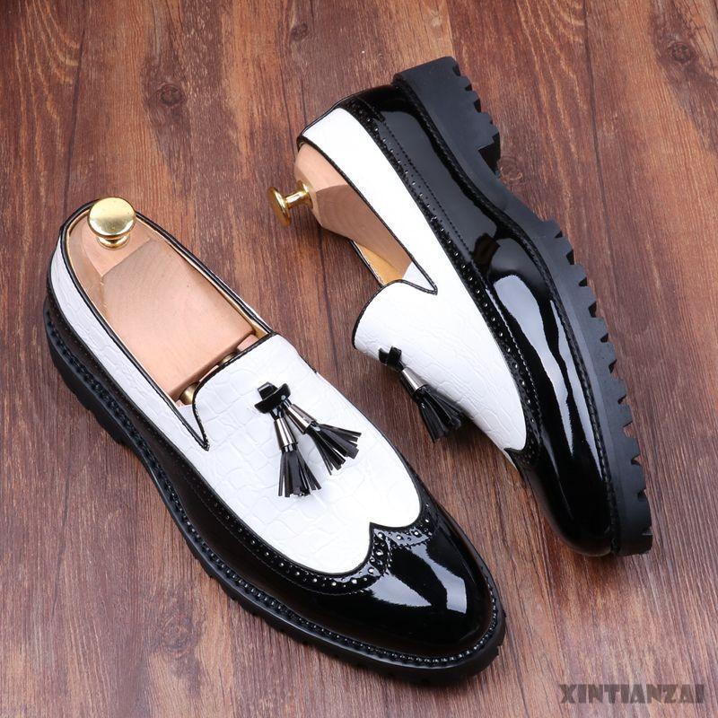 Popular Men Brogues Wingtip Tassels Leather Dress Slip On Splice Oxfords shoes