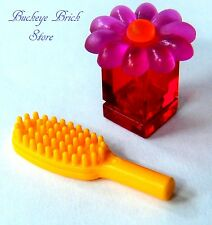 NEW Lego Female Minifig Trans PINK RED Flower Perfume Container Box & Hairbrush