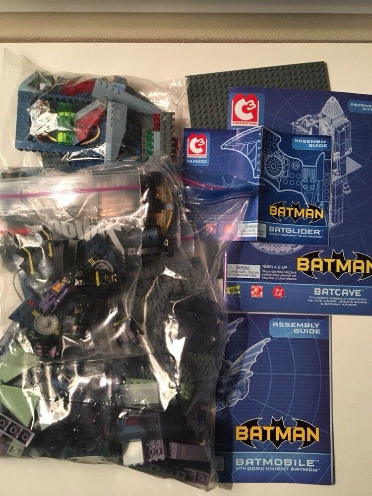 Lot 3 Art Asylum C3 Batman Batcave Batmobile Batglider Catwoman Joker MiniMates