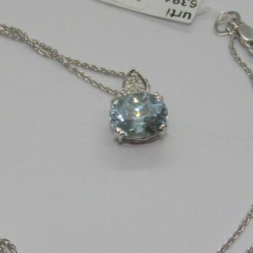 Gold Necklace 18KT Aquamarine Diamonds Bright Gold