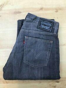 Men-039-s-LEVI-039-S-514-SLIM-STRAIGHT-Gris-fonce-Jeans-W31-L34-A658