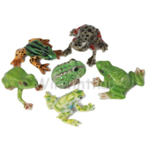 6 FROG TOAD SET CERAMIC POTTERY STATUE ANIMAL MINIATURE FIGURINE
