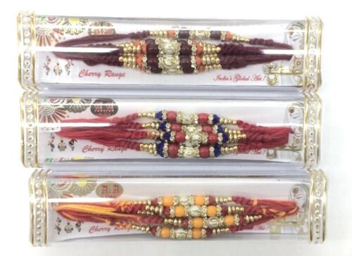 6 x Small Patterned Bead With Coloured and Diamante Bead – Rakhi ThreadBracelet