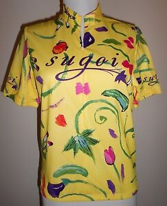 SUGOI-Womens-Yellow-Cycling-Jersey-Shirt-Top-NWOT-Sz-Small