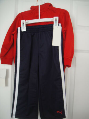 PUMA NWT Boys 2PC Track Suit Jacket Pants Top Warm Up Red Navy Polyester 2 2T