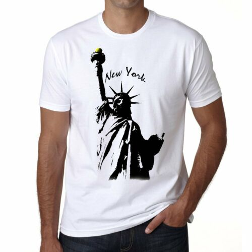 Statue of Liberty Tshirt Col Rond Homme T-shirt Blanc
