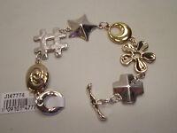 Rlm Studio Robert Lee Morris Sterling & Brass Symbol Link Bracelet 7-1/2