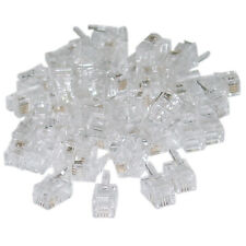 Phone / Data RJ22 Crimp Connectors for Flat Cable 4P4C 100 Pieces WC-31D0-440HD
