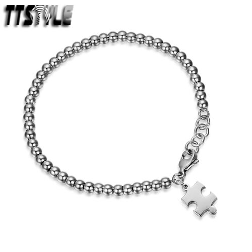 TTstyle Stainless Steel 4mm Bead Puzzle Bracelet 16-18cm Silver//Rose Gold NEW