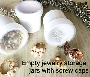 12 WHITE Plastic Jewelry Bead Jars Clear Screw CAPS Container 1 ounce 4305 USA