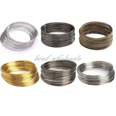 100/500 Loops Silver/Gold Plated Memory Steel Wire Cuff Bangle Bracelet 55/60mm