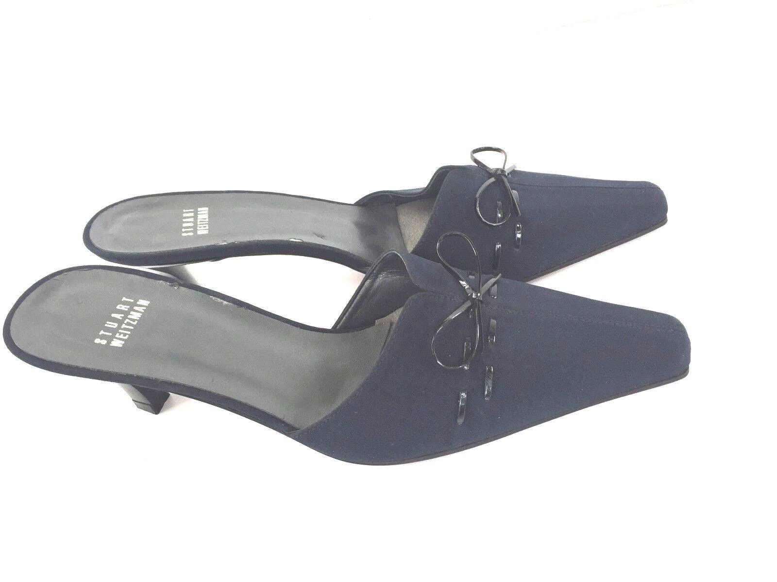 Stuwart Weitzman Shoes Heels Navy Blue Black Slip On Patent Bow Women's 7.5 M
