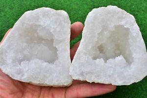 Quartz Geodes 12-15cm Natural White Whole-Matching-Pair, Sugar- Quartz UK BUY✔