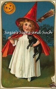 Fabric-Block-Vintage-Halloween-Little-Witch-Black-Cat-Moon-Red-Cape