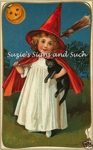 Fabric Block Vintage Halloween Little Witch Black Cat Moon Red Cape