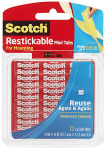 Scotch-Restickable-Mini-Tabs-For-Mounting-Removable-Clear-Double-Sided-Adhesive