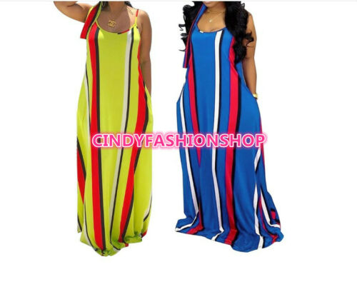 USA Women Loose Spaghetti Strap Loose Boho With Head Scarf Long Maxi Dress #L7