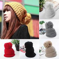 Unisex Ladies Women Knit Winter Cap Warm Ski Slouch Oversized Beanie Bobble Hats