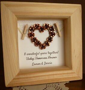 8th Bronze Wedding Anniversary Gift 19th Anniversary Present Personalised