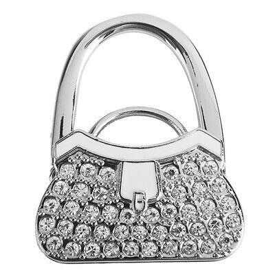 Metal RhInestone Folding Handbag Purse Table Hook Hanger Holder White Accessory