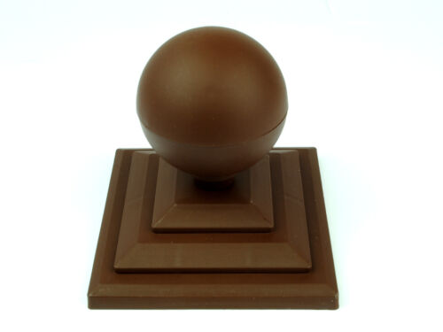 "3/"" Fence Post Cap UK Made GT0029 Linic 8 x Brown Round Sphere Fence Top Finial"
