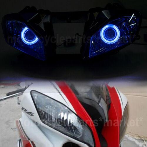 Headlight Blue Angel Eye Projector HID High Low beam for Yamaha YZF R6 2008-2015