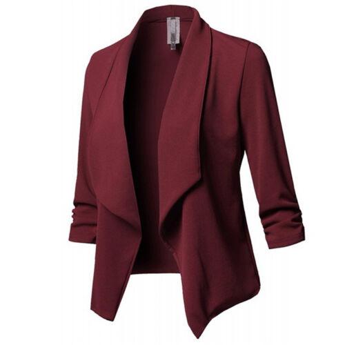 Plus Size Womens Collar Suit Thin Jacket Coat 3//4 Sleeve Blazer Cardigan Tops