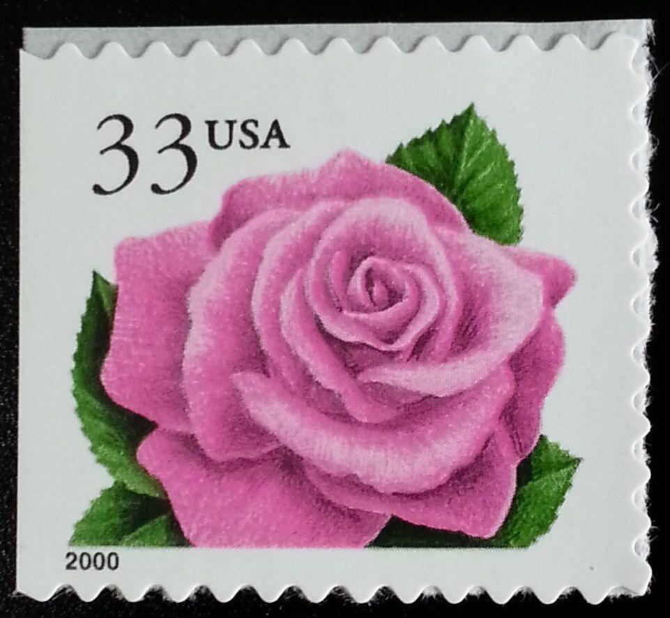 2000 33c Coral Pink Rose, Booklet Single Scott 3052e Mi