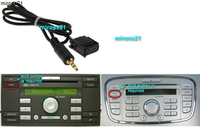 ford 6000 cd aux input adapter cable 6000cd connect mp3 ipod iphone ipad for sale online ebay. Black Bedroom Furniture Sets. Home Design Ideas