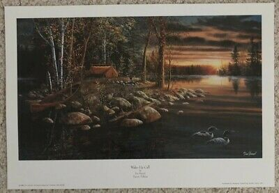 "**Jeanne Rager /""NIGHT LIGHTS/"" Native American-Camping-Lake-Teepee-Art*"