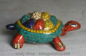 4.4 « Rare Vieux Tibet Le Bouddhisme Copper Turquoise Coral Animal Turtle Statue