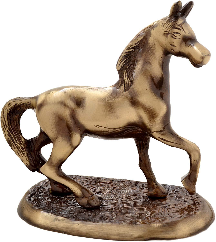 Brass Horse On Plate Showpiece Home Décor Sculpture Statue
