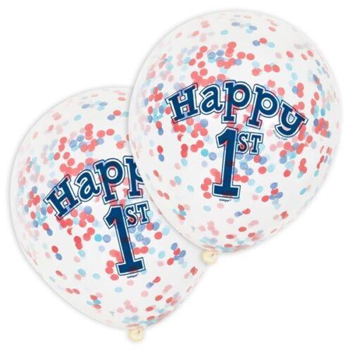 """Geburtstag Junge 6 Konfetti-Ballons /""""Happy 1st/"""" für 1 transparent"""