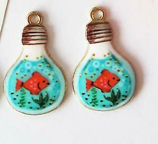 10pc//pack Light Bulb Cat Cup Enamel Charms Jewelry Earring Bracelets DIY Pendant