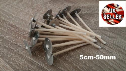 40 x 5 cm 50 mm pré ciré mèches pour candle making avec SUSTAINERS haute qualité