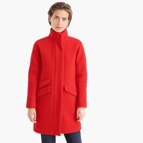size 00 bright cerise NWT J.Crew Cocoon Coat in Italian stadium-cloth wool