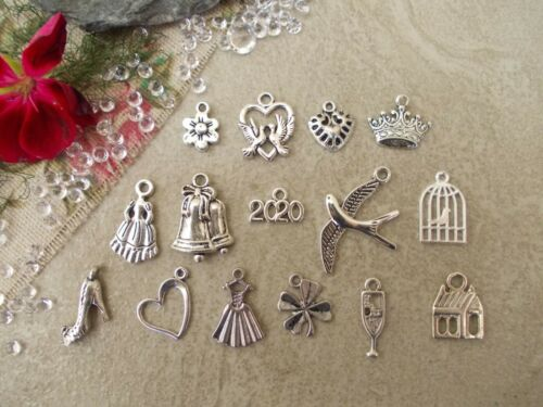 Mixed pack of Wedding Tibetan Silver Charms Carriage,Bells,horseshoe etc Bride