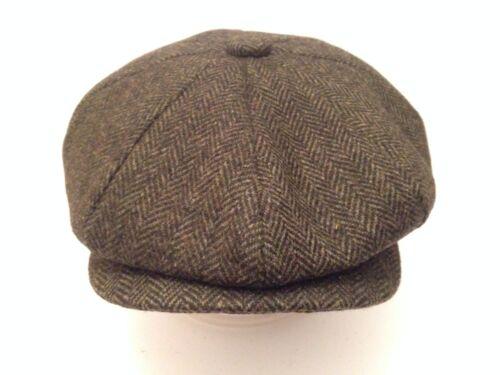 PEAKY BLINDERS GREEN HERRINGBONE CAP PEAKED PEAK NEWSBOY BAKER BOY 8-PIECE CAP