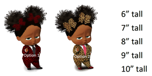 African American Leopard Suit Baby Afro Puffs Girl Cake Edible Image
