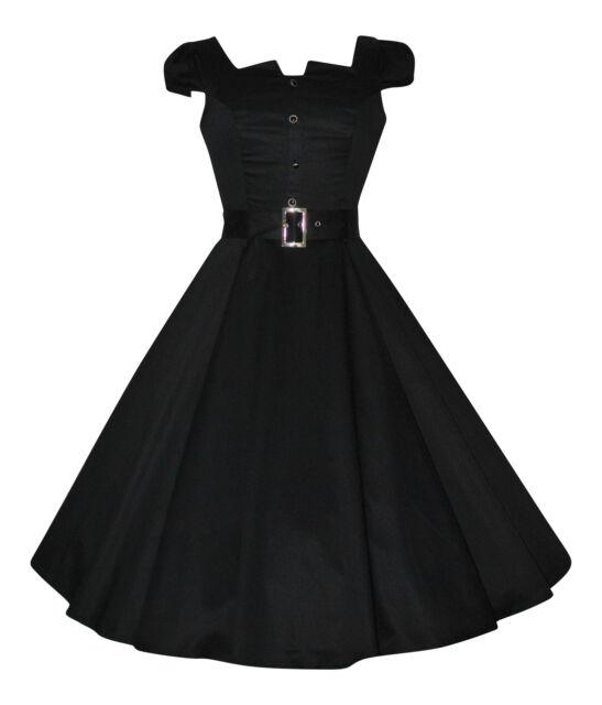 1950s Vintage Style Black Ornate Button Rockabilly Cocktail Swing Dress New 8-18
