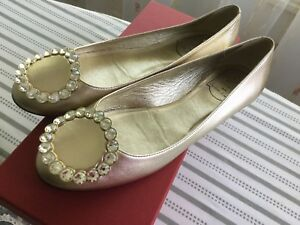 New-Roger-Vivier-Metallic-Leather-Ballerina-Flat-Sz37