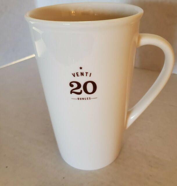 Starbucks 2010 Venti 20 Ounces White Tall Ceramic 20oz