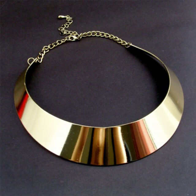 Women Punk Metal Charm Gold Choker Statement Bib Chain Necklace Collar Jewelry