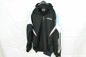 Adidas-Trainingsjacke-Herren-Gr-L-Schwarz-Weiss-Blau-Fussball-Vintage-OG-2000er