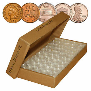 PENNY-Direct-Fit-Airtight-A19-MM-Coin-Capsule-Holders-For-PENNIES-QTY-25-w-BOX